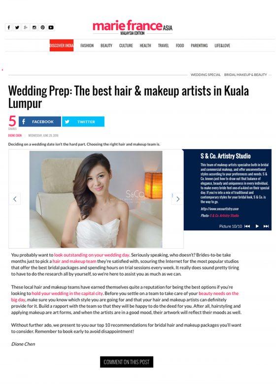 Voted as TOP 10 wedding hair & makeup artists in Kuala Lumpur, Malaysia.